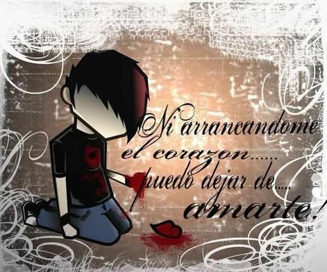imagenes con frases tristes de amor en corazones
