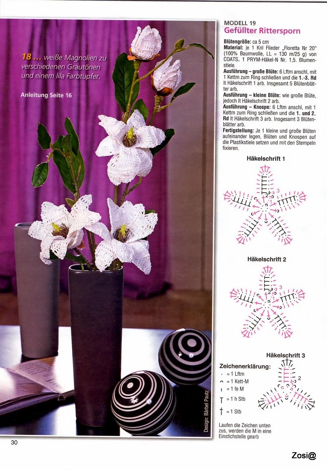 Вязаные цветы крючком со схемами в вазах