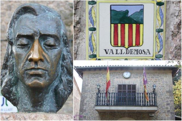 Escultura de Chopin – Azulejo con escudo de Valldemosa – Ayuntamiento de Valldemosa en Mallorca