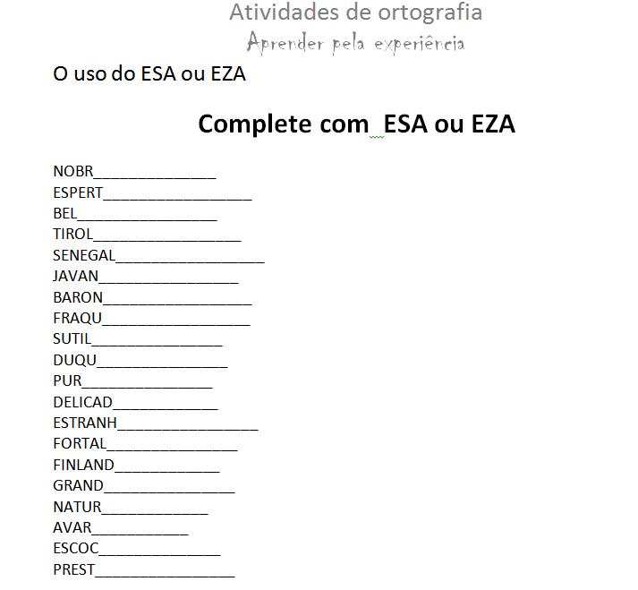 Populares Aprender pela experiência: Atividade de ortografia - ESA e EZA LK05