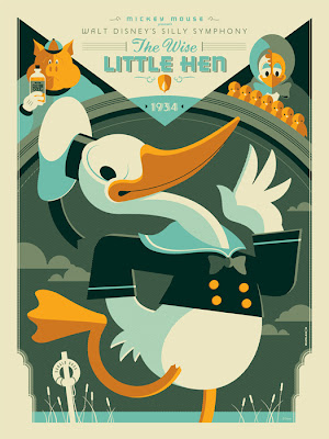 "Mondo x Sideshow Collectibles ""The Wise Little Hen"" Disney Screen Print by Tom Whalen"