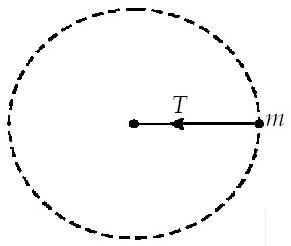 Gaya tegangan tali pada benda merupakan gaya yang arahnya menuju ke pusat lingkaran (bertindak sebagai gaya sentripetal) seperti