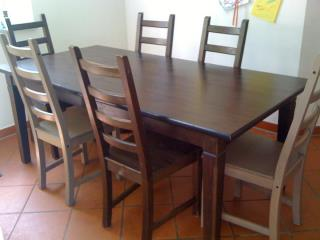 ikea table with 6 chairs 2 chairs are a lighter color then the other. Black Bedroom Furniture Sets. Home Design Ideas