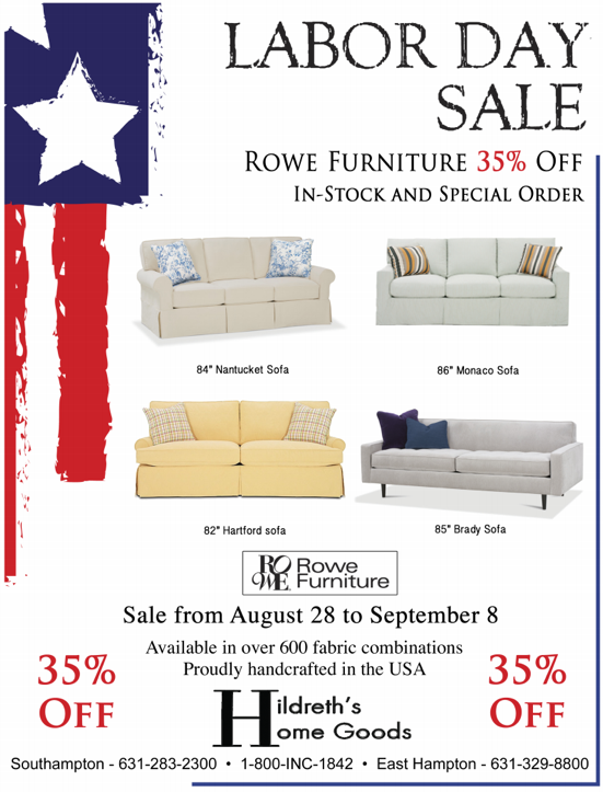 Hildreth 39 s home goods rowe labor day sale for Labor day couch sale