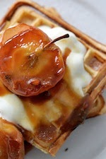 Waffles with maple-toffee apples
