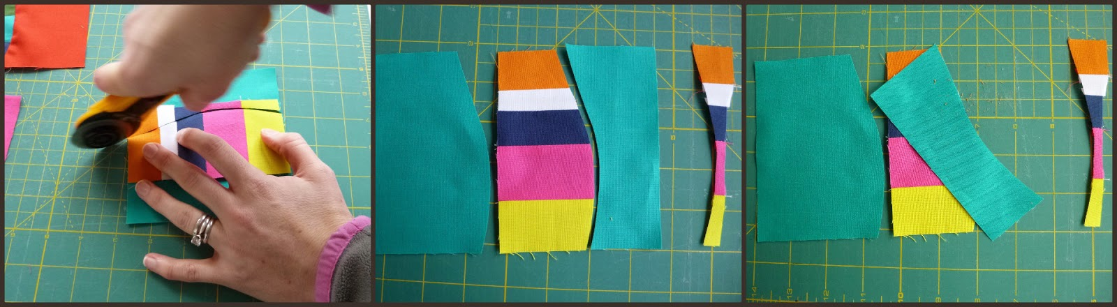 Wave coasters improv quilting tutorial by fabricandflowers | Sonia Spence