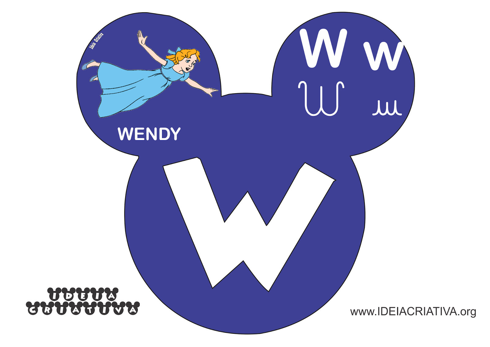 Alfabeto Mickey Minnie Disney com figuras de personagens infantis e 4 tipos de letra