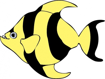 striped tropical fish cartoon