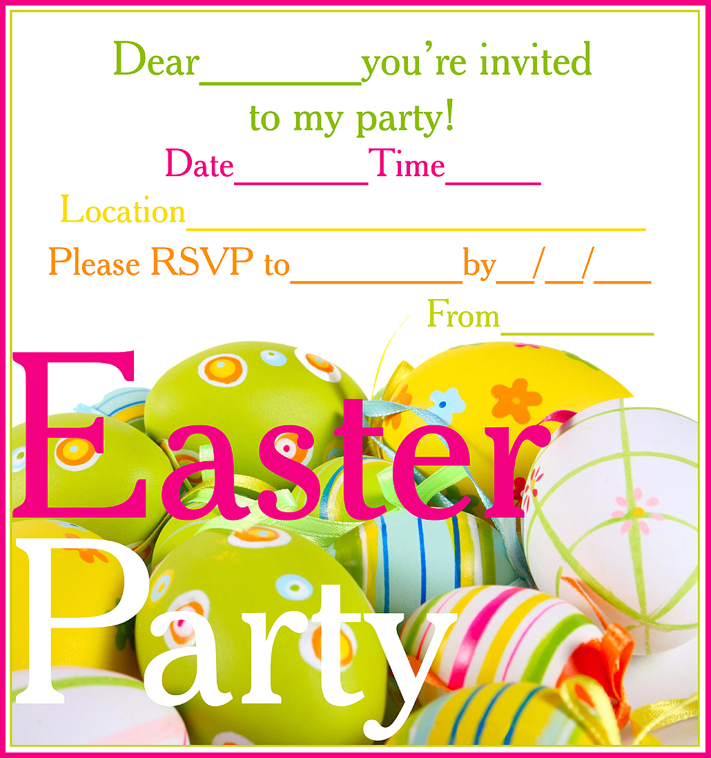 EASTER COLOURING: FREE PRINTABLE EASTER PARTY INVITATIONS