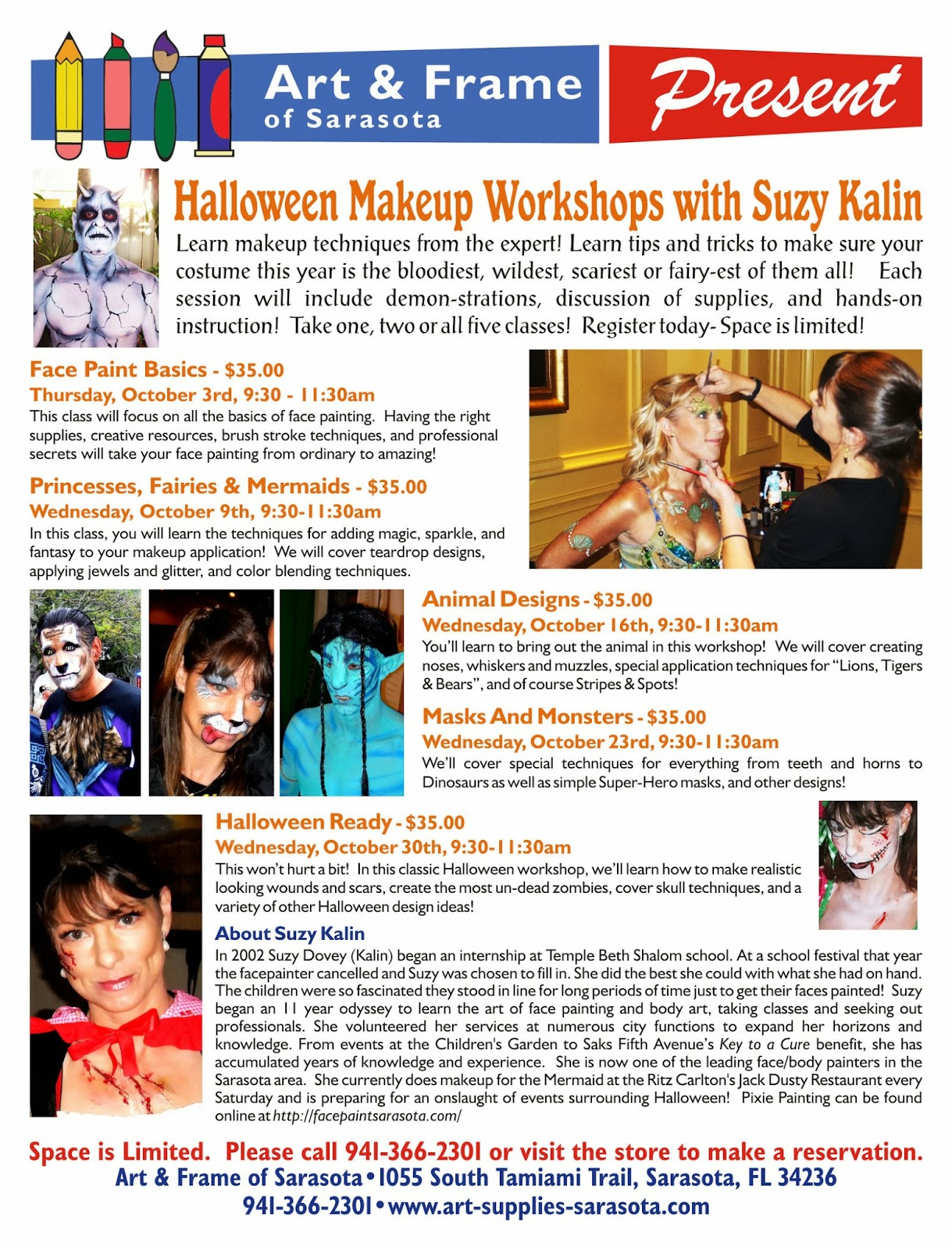 Art & Frame of Sarasota: Halloween Makeup Workshop