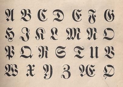Typography German Upper Case Alphabet Vintage 1887 Childrens Primer