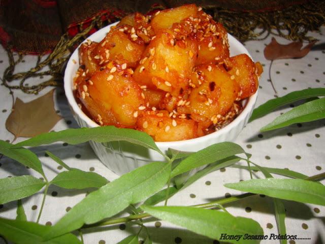 Honey Sesame Potatoes recipe,Honey Glazed Potato recipe,Sesame Honey Chilli Potato recipe,Sesame Chilli Honey Potato Recipe