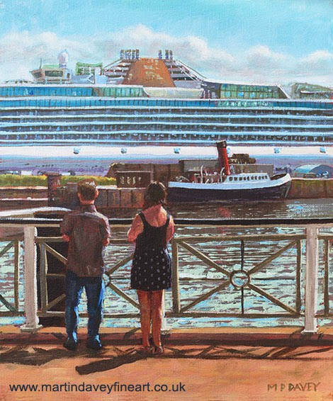 People at Southampton Eastern Docks viewing ship-acrylic painting