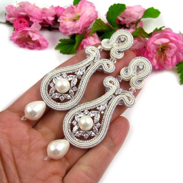 Biżuteria ślubna z sutaszu - śmietankowa biel ivory