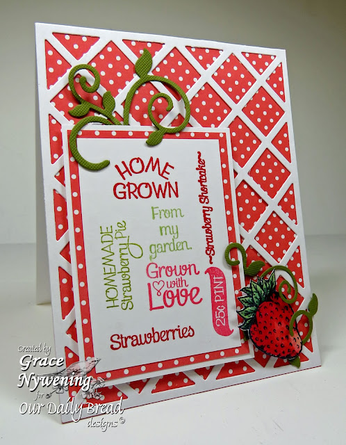ODBD Stamps: Strawberries, Strawberries and Pickles, Blue Ribbon Winner, Garden Sentiments, designed by Grace Nywening