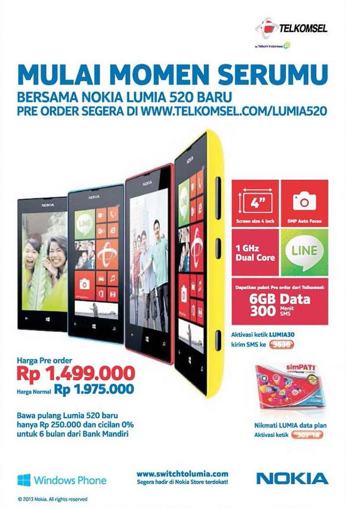 Nokia Lumia 520 Siap Pre-Order, Harga Rp 1.499.000