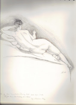 original sketch-nanette stein  (John Trumble-1784-Reclining Nude:Back View)
