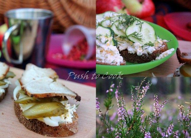 Бутерброды с творожной массой и огурцом