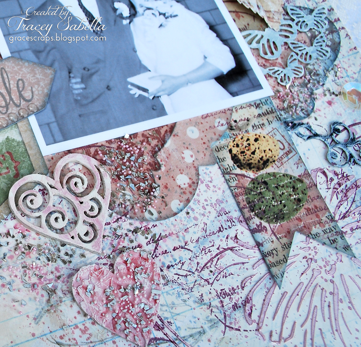 Mixed Media Layout by Tracey Sabella for Scraps of Elegance with BoBunny and Prima