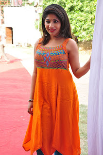Madhulagna Das in Orange Sleeveless Tight Kurti and Blue Leggings Lepakshi Crafts Launch