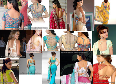 Designs - Blouse Back Designs - Blouse Neck Models - Celebrities saree