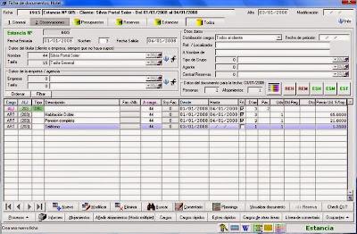 Detalle de un cliente en un software de gestión hotelero.