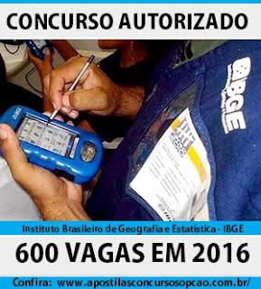 Apostila Concurso do IBGE 2016 vagas de níveis médio e superior