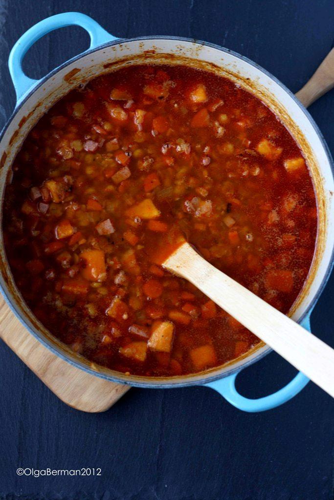 ... & Tomato: Smoky Split Pea and Sweet Potato Soup with Turkey Sausage