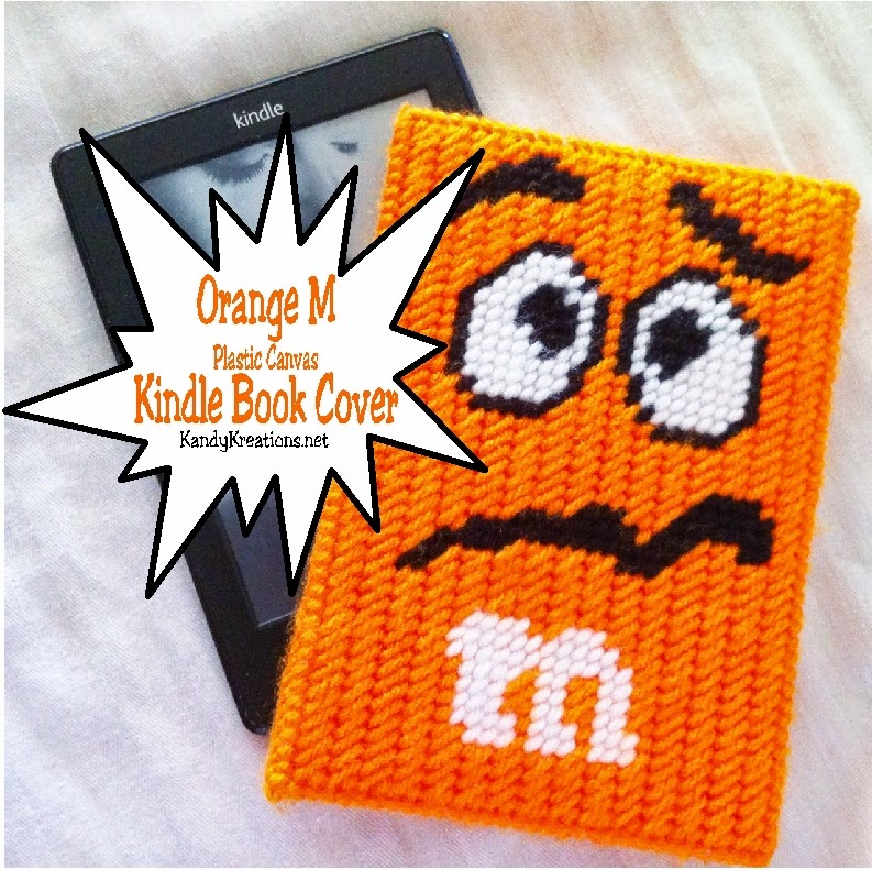 Plastic Canvas Book Cover Patterns ~ Orange candy character kindle book cover plastic canvas