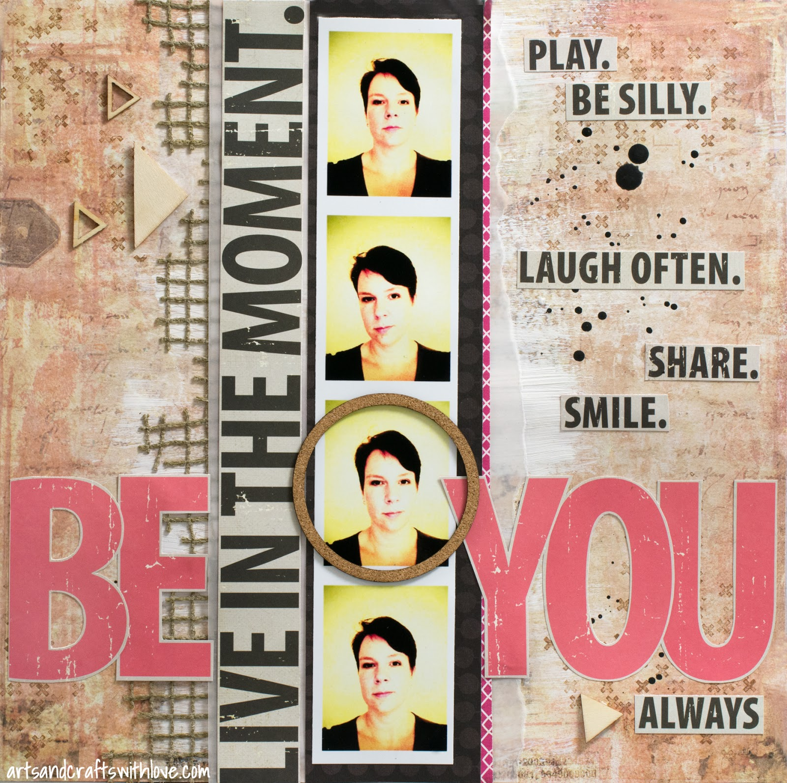 Scrapbooking layout for 123 Get Scrappy April: Be You. Always