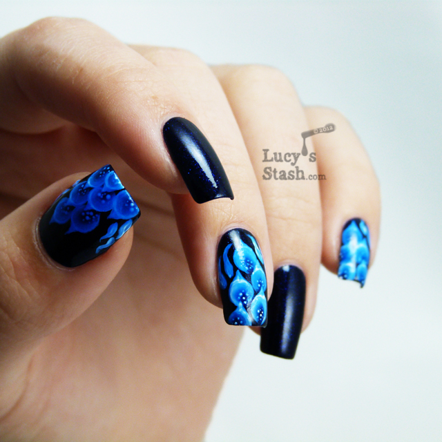 Lucy's Stash - Blue fire one stroke nail art