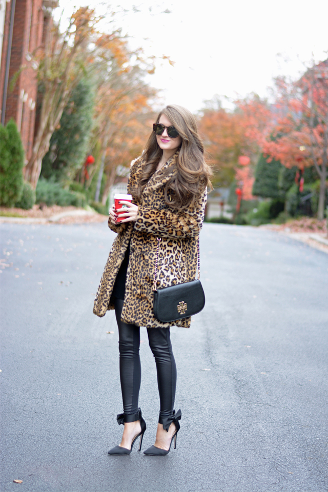 This leopard fur coat is perfect for holiday parties