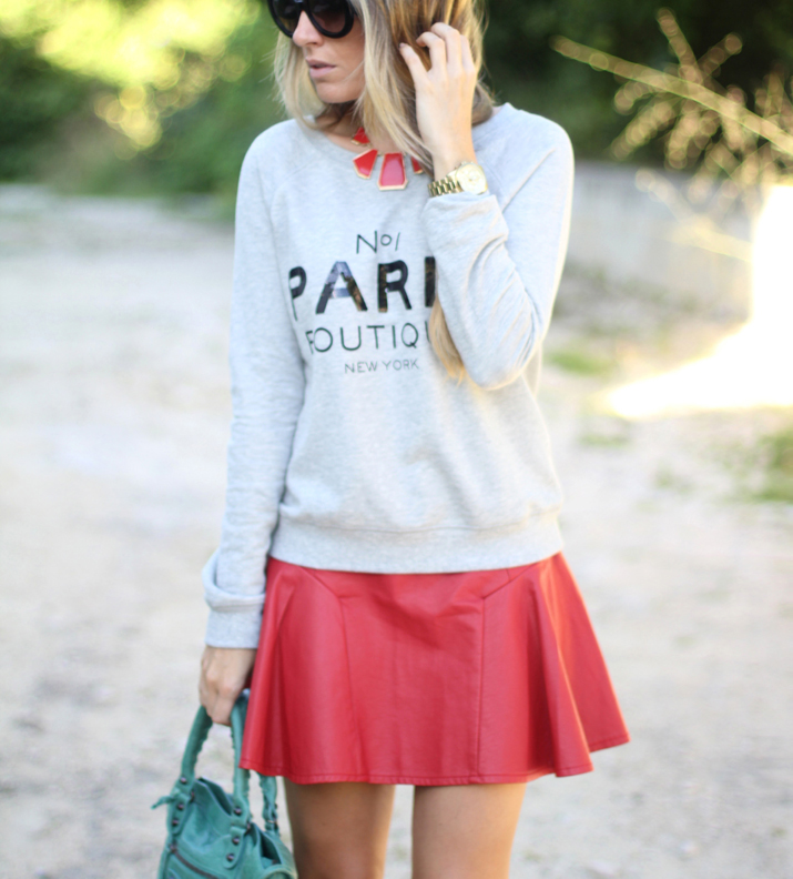 Outfit with Mango Paris sweater and leather skirt