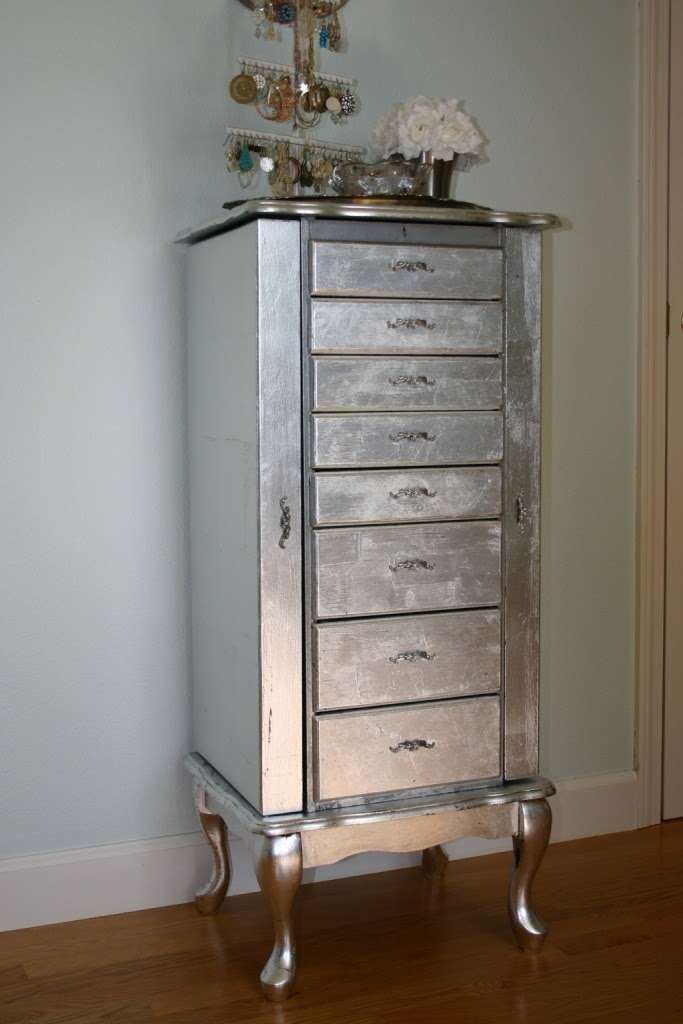 Jen Uinely Inspired Diy Silver Leaf Jewelry Cabinet