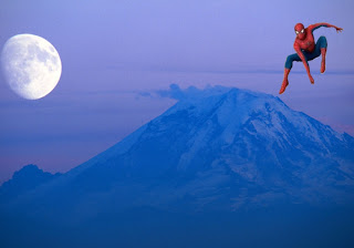 Spiderman Wallpapers Super Heroe Flying and jumping in Classic Ascent Moon background