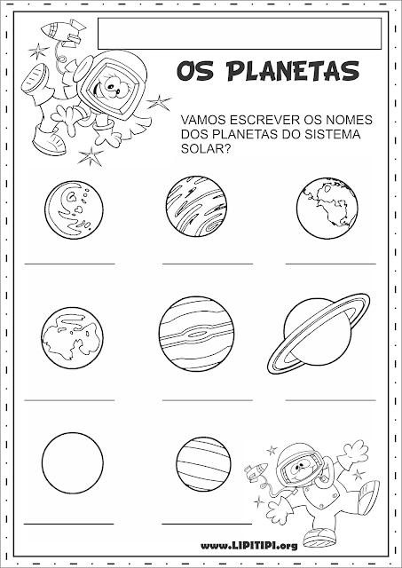 Atividades Sistema Solar Escrita Espontânea e Produção Textual