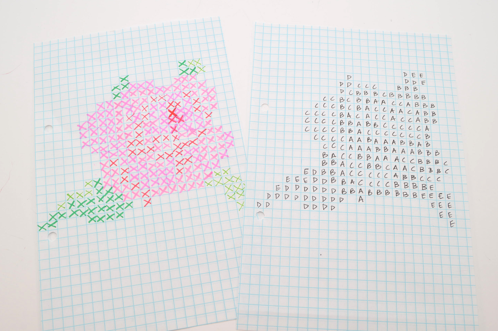 This Is What The Template Was Created From On Graph Paper, I Planned Out  The Rose Design Using Markers (left) This Was The 3rd Or 4th Version,