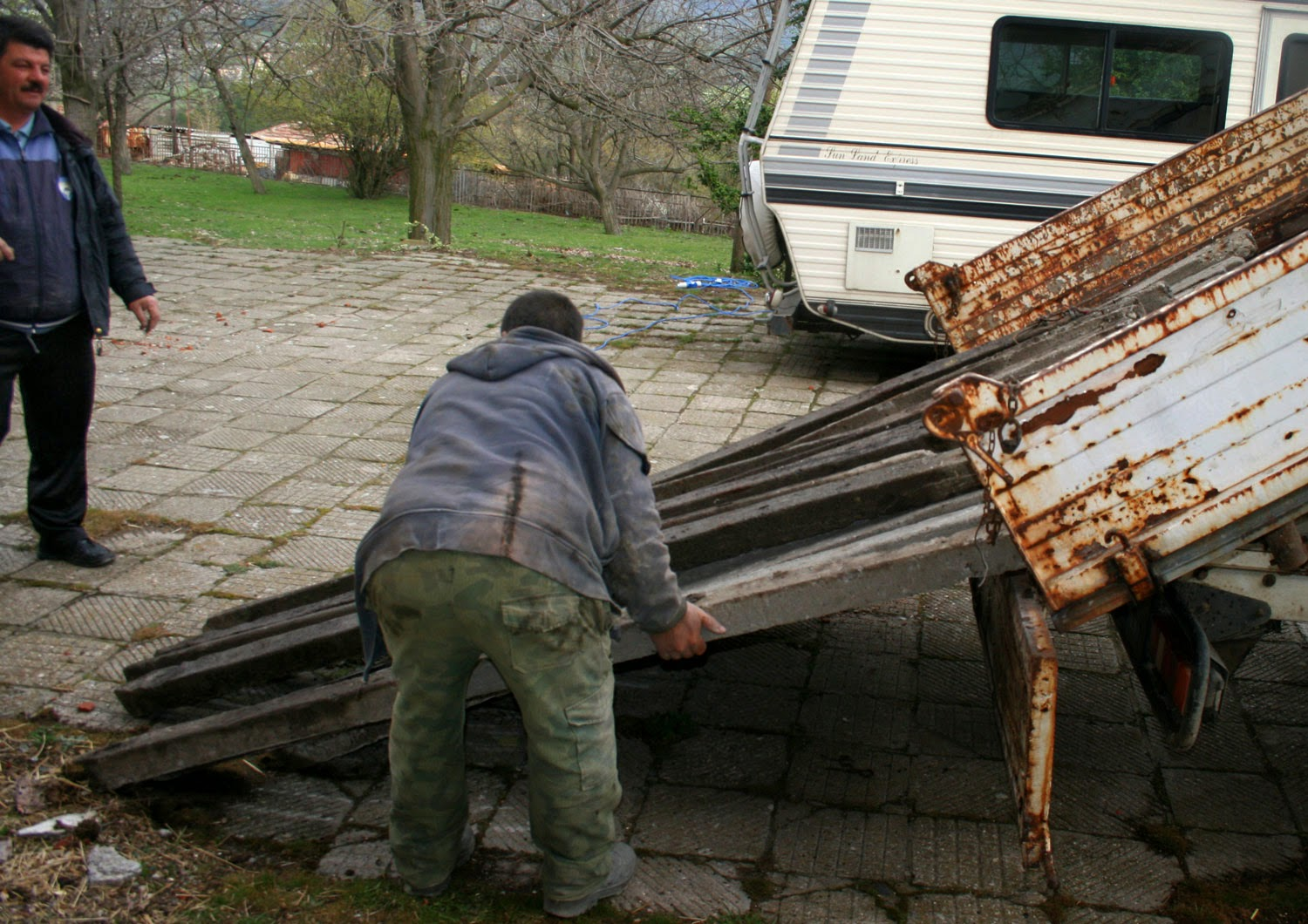 Unloading the fence posts