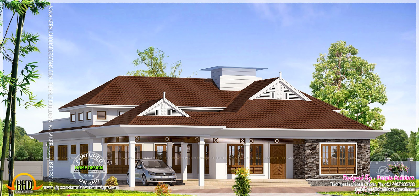Grand single storied bungalow exterior kerala home for Single storied kerala house plans