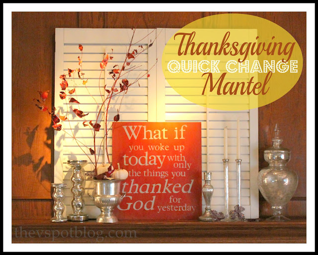 Thanksgiving, fall, autumn, mantel, decor, decorations, holiday, mercury glass, orange