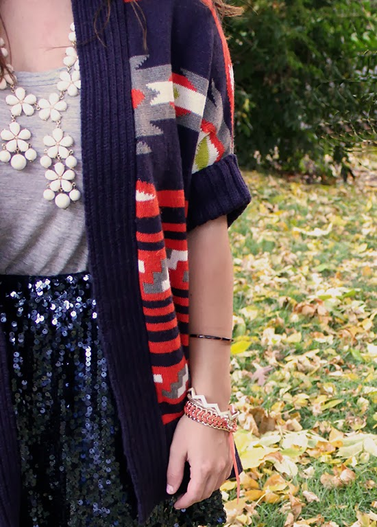 Aztec Printed Sweater & Navy Sequined Skirt // LPF for QMack  #QMarksTheSpot