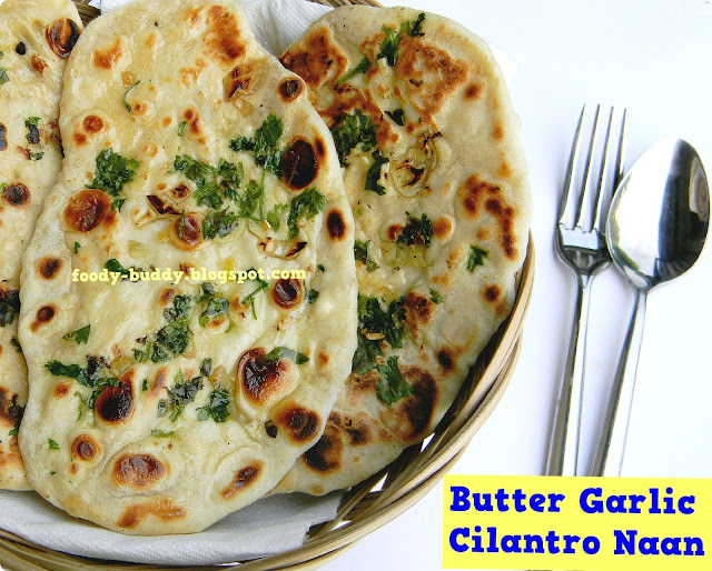 Butter Garlic Cilantro Naan / Naan recipe Without Yeast - FoodyBuddy