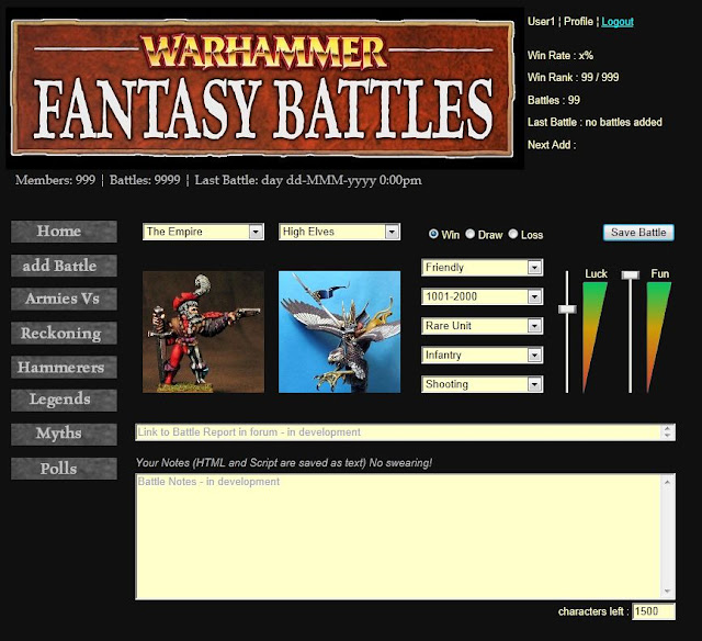 Sigmar's WFB Recorder - Add Battle page