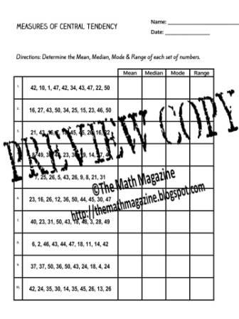 Central Tendency Worksheet 006 - Central Tendency Worksheet