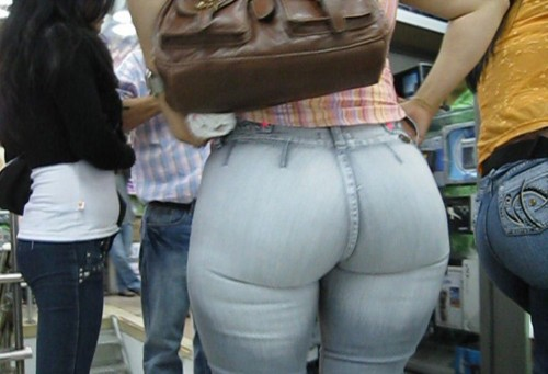 Fat ass in tight jeans
