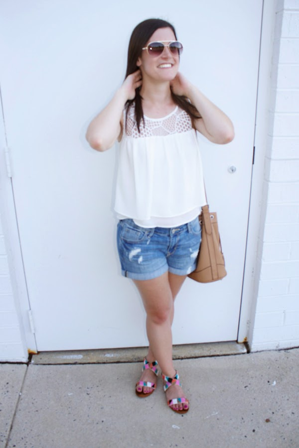 crop top, zara crop top, denim shorts, old navy shorts, old navy bucket bag, union bay sandals, summer