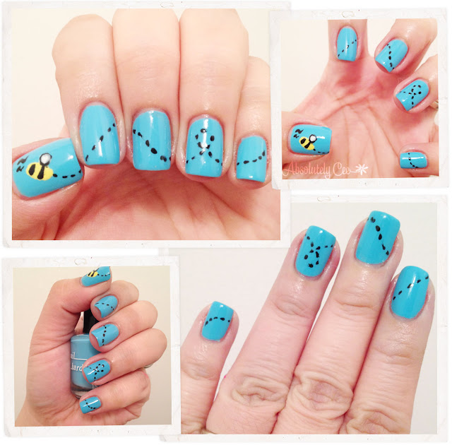 Brucci, victoria's blue eyes, mellow yellow, bee nail art