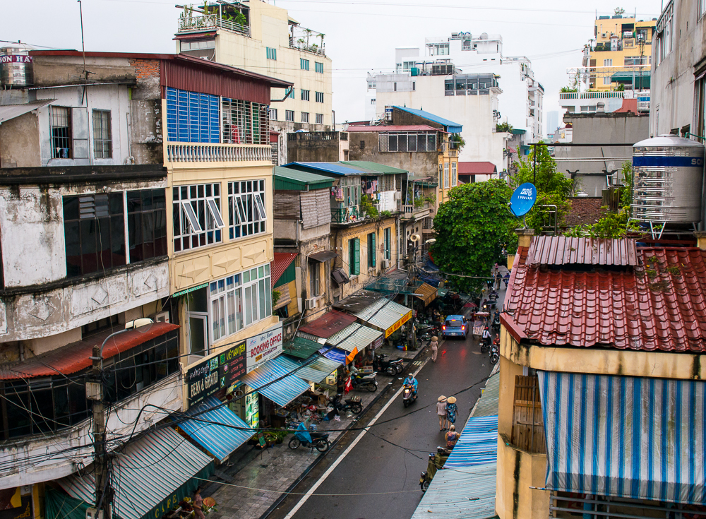 colourful streets of hanoi vietnam in the day