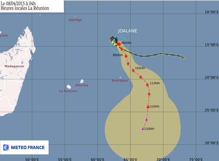 Trajectoire cyclone Joalane