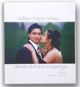 Kajol kissing Shahrukh on cover page of DDLJ Book by Aditya Chopra that relives Dilwale Dulhania Le Jayenge